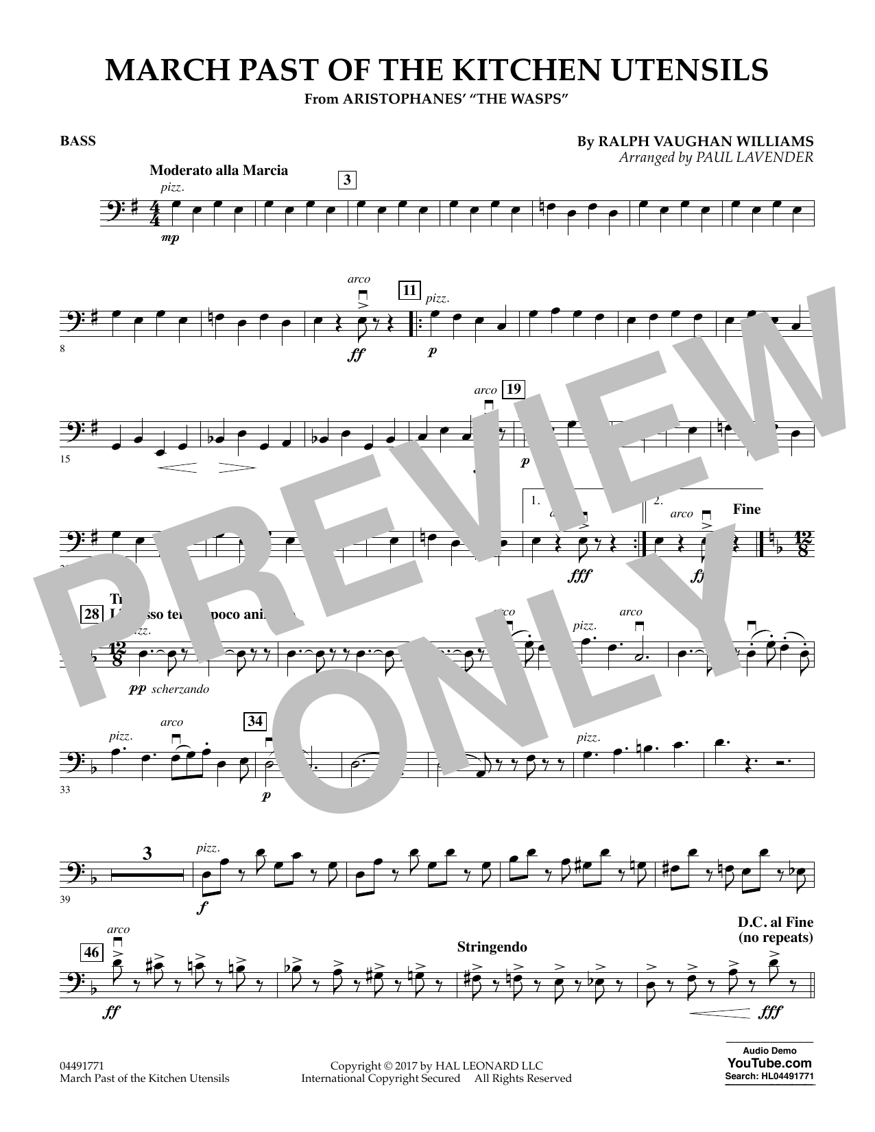 Paul Lavender March Past of the Kitchen Utensils (from The Wasps) - Bass sheet music notes and chords. Download Printable PDF.