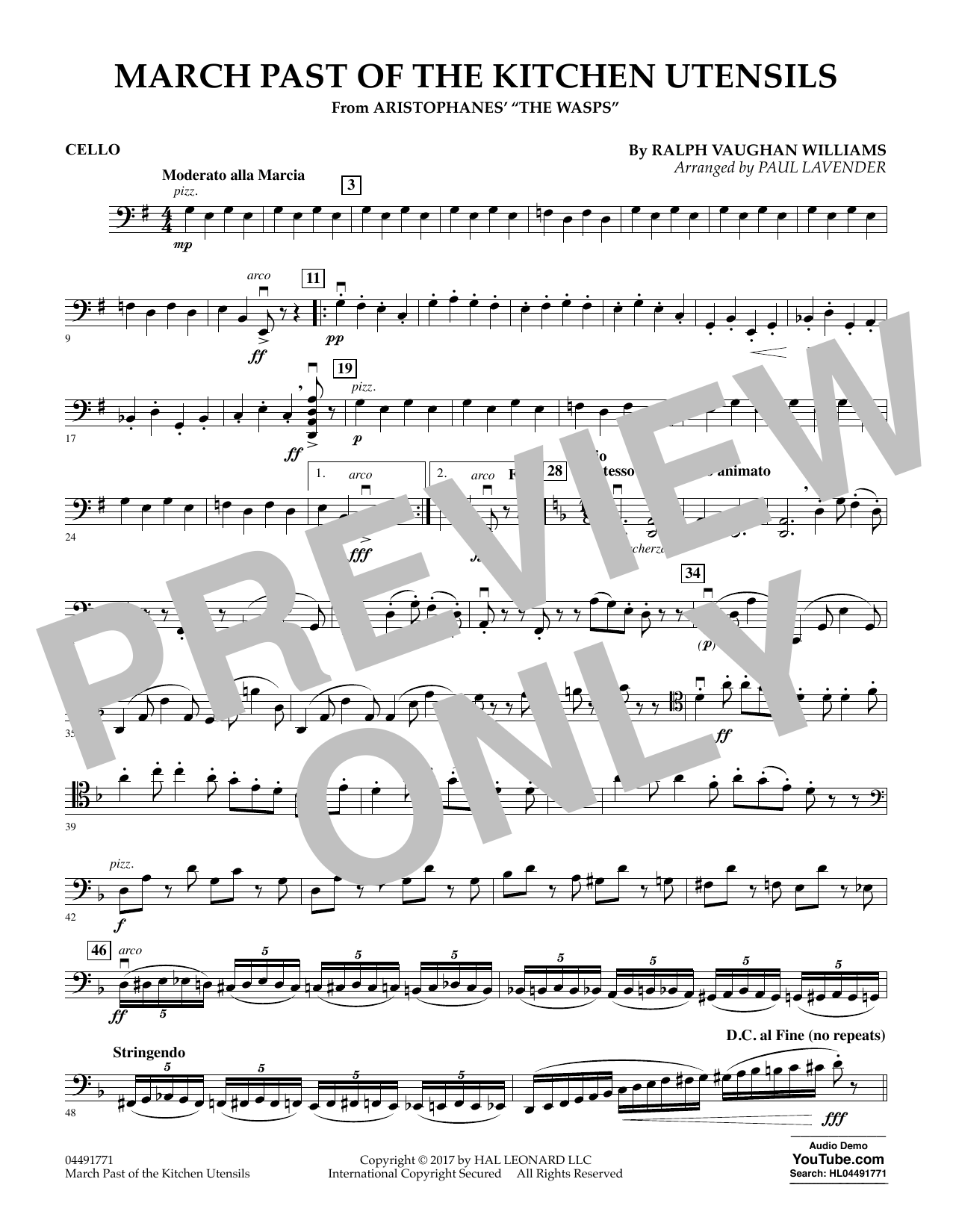 Paul Lavender March Past of the Kitchen Utensils (from The Wasps) - Cello sheet music notes and chords. Download Printable PDF.