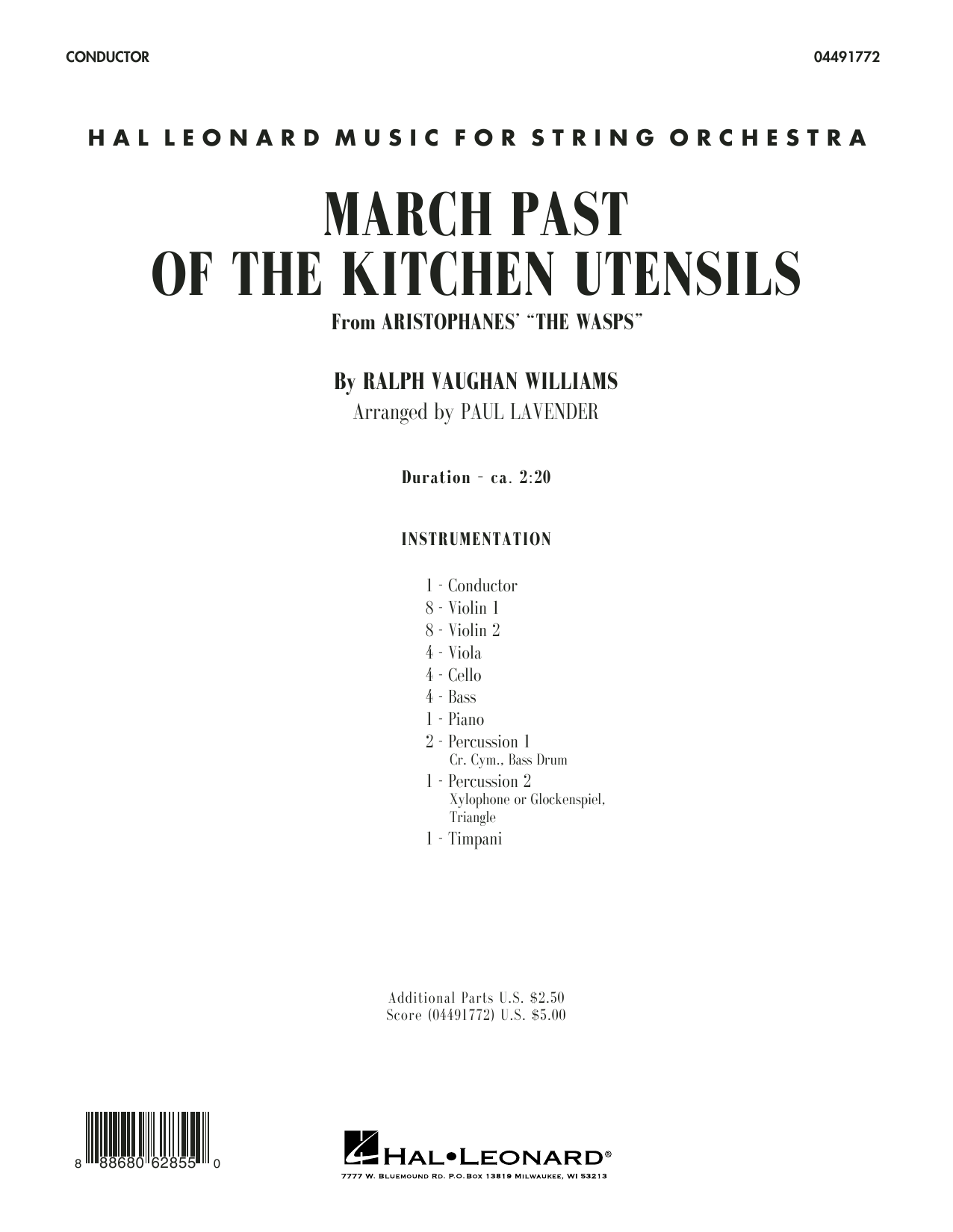 Paul Lavender March Past of the Kitchen Utensils (from The Wasps) - Conductor Score (Full Score) sheet music notes and chords. Download Printable PDF.