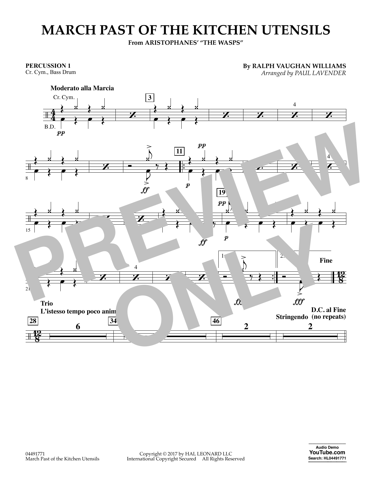 Paul Lavender March Past of the Kitchen Utensils (from The Wasps) - Percussion 1 sheet music notes and chords. Download Printable PDF.