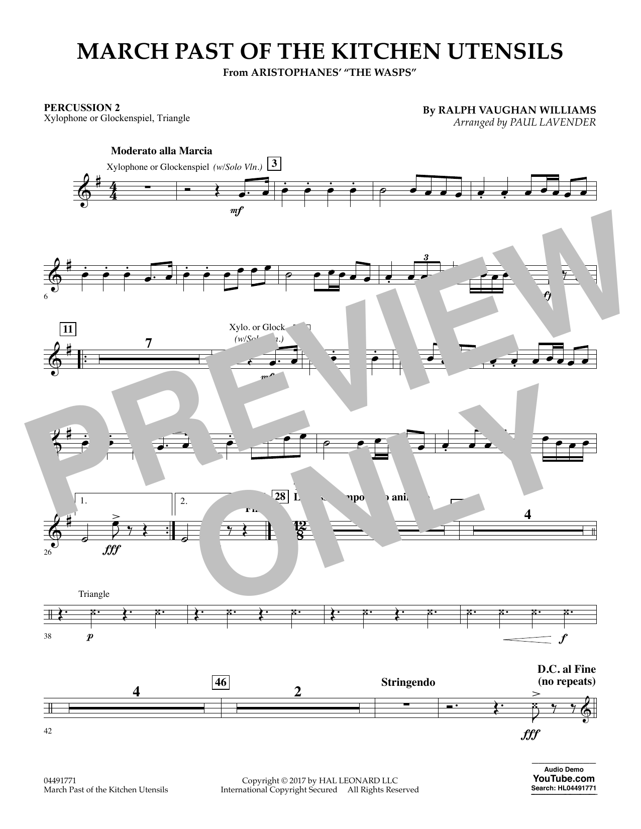 Paul Lavender March Past of the Kitchen Utensils (from The Wasps) - Percussion 2 sheet music notes and chords. Download Printable PDF.