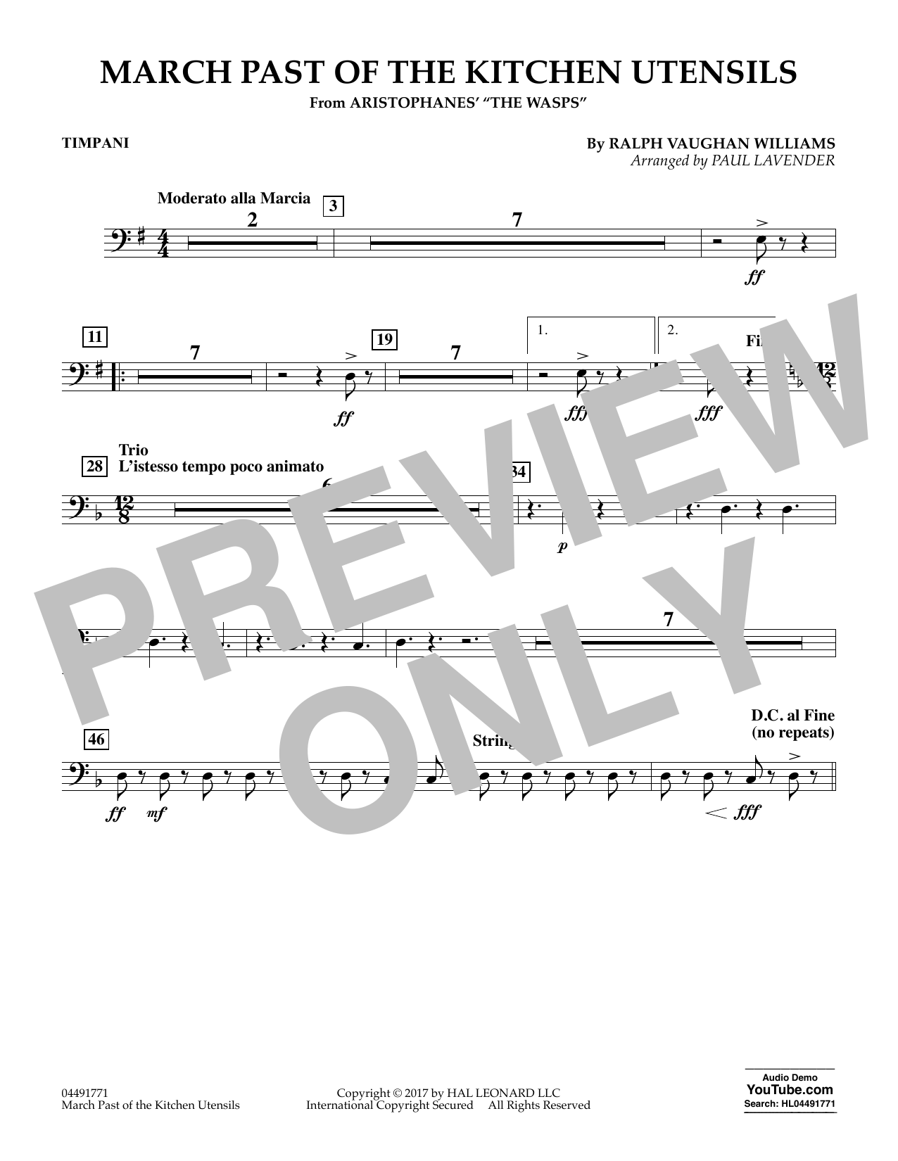 Paul Lavender March Past of the Kitchen Utensils (from The Wasps) - Timpani sheet music notes and chords. Download Printable PDF.