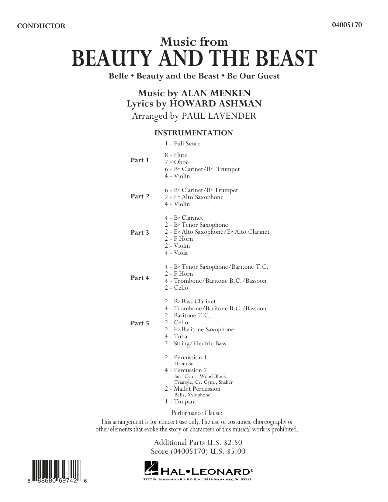 Paul Lavender Music from Beauty and the Beast - Conductor Score (Full Score) sheet music notes and chords. Download Printable PDF.
