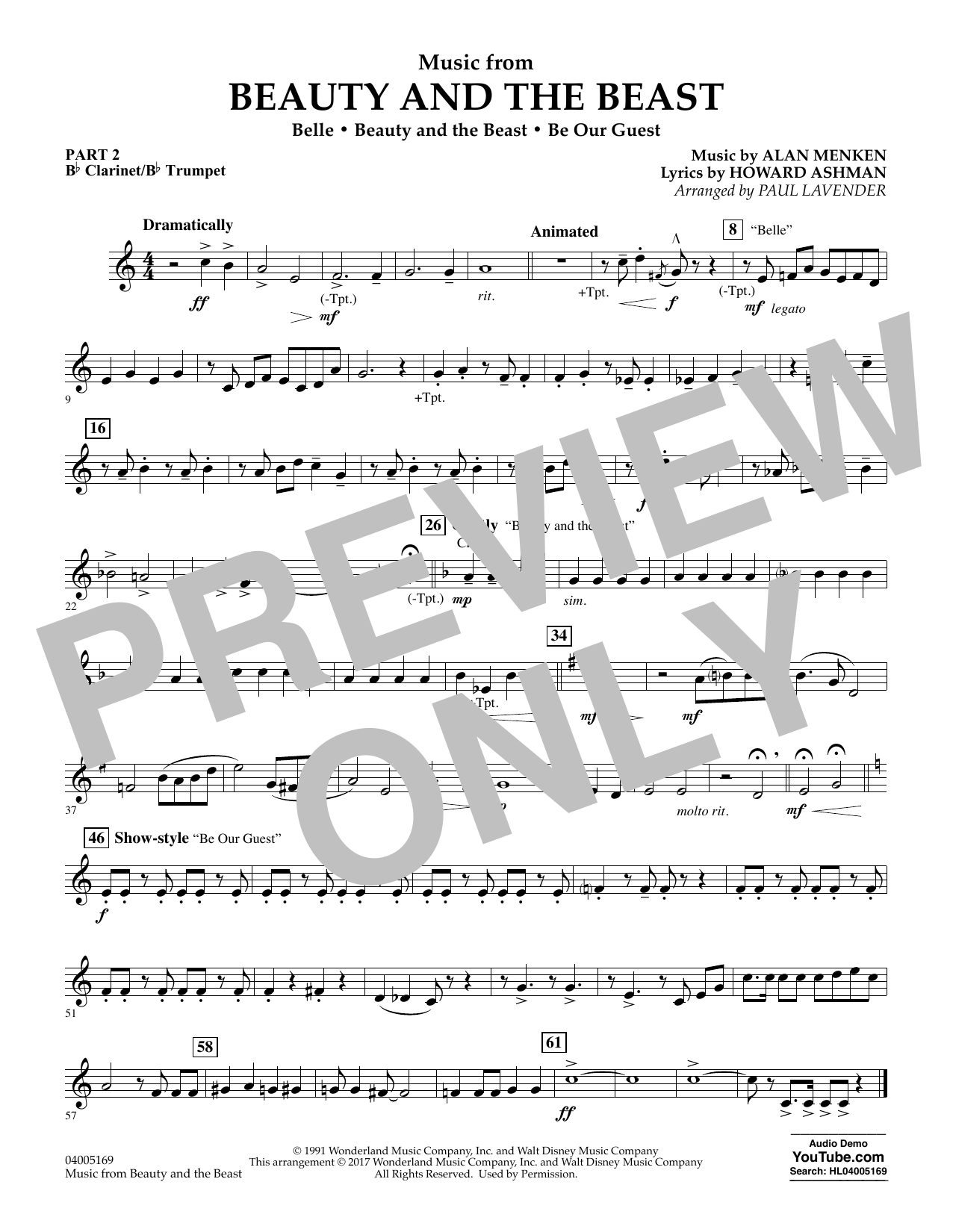 Paul Lavender Music from Beauty and the Beast - Pt.2 - Bb Clarinet/Bb Trumpet sheet music notes and chords. Download Printable PDF.