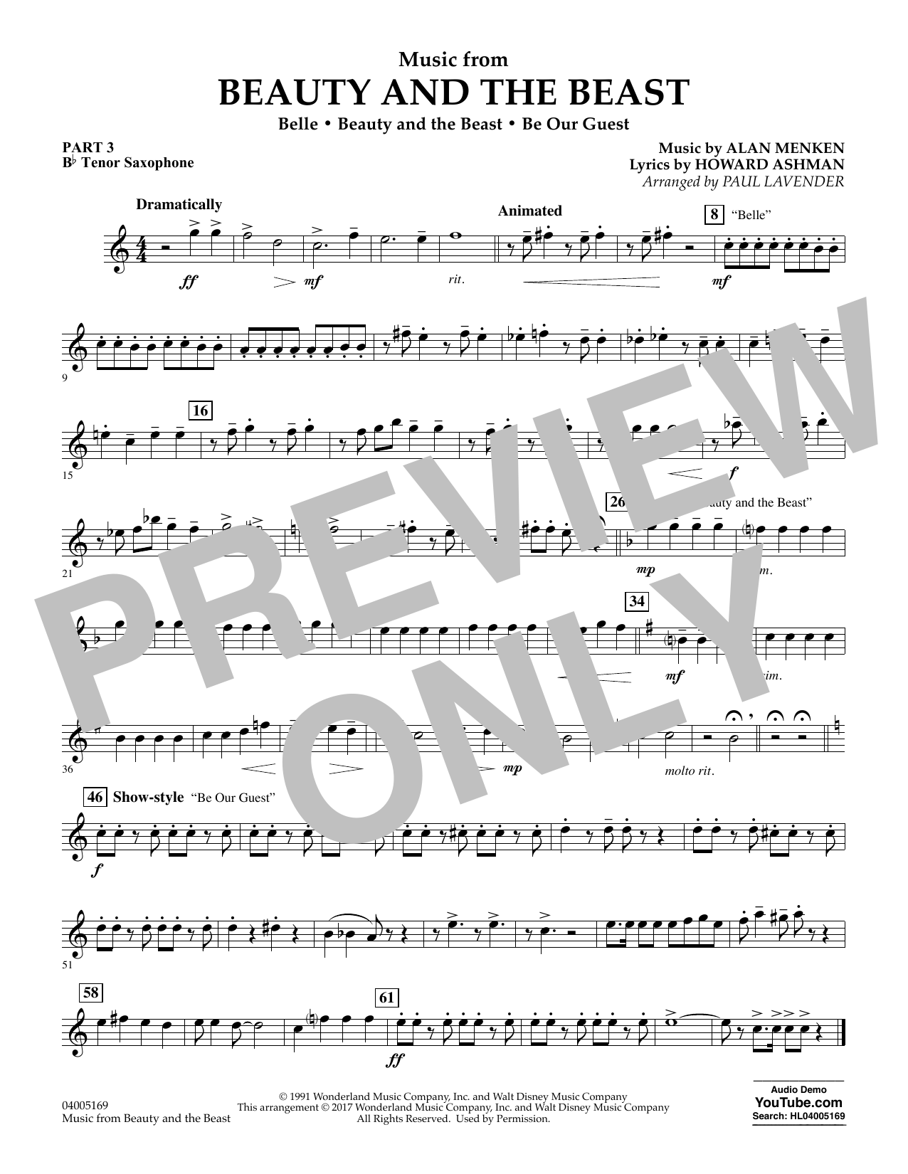 Paul Lavender Music from Beauty and the Beast - Pt.3 - Bb Tenor Saxophone sheet music notes and chords. Download Printable PDF.