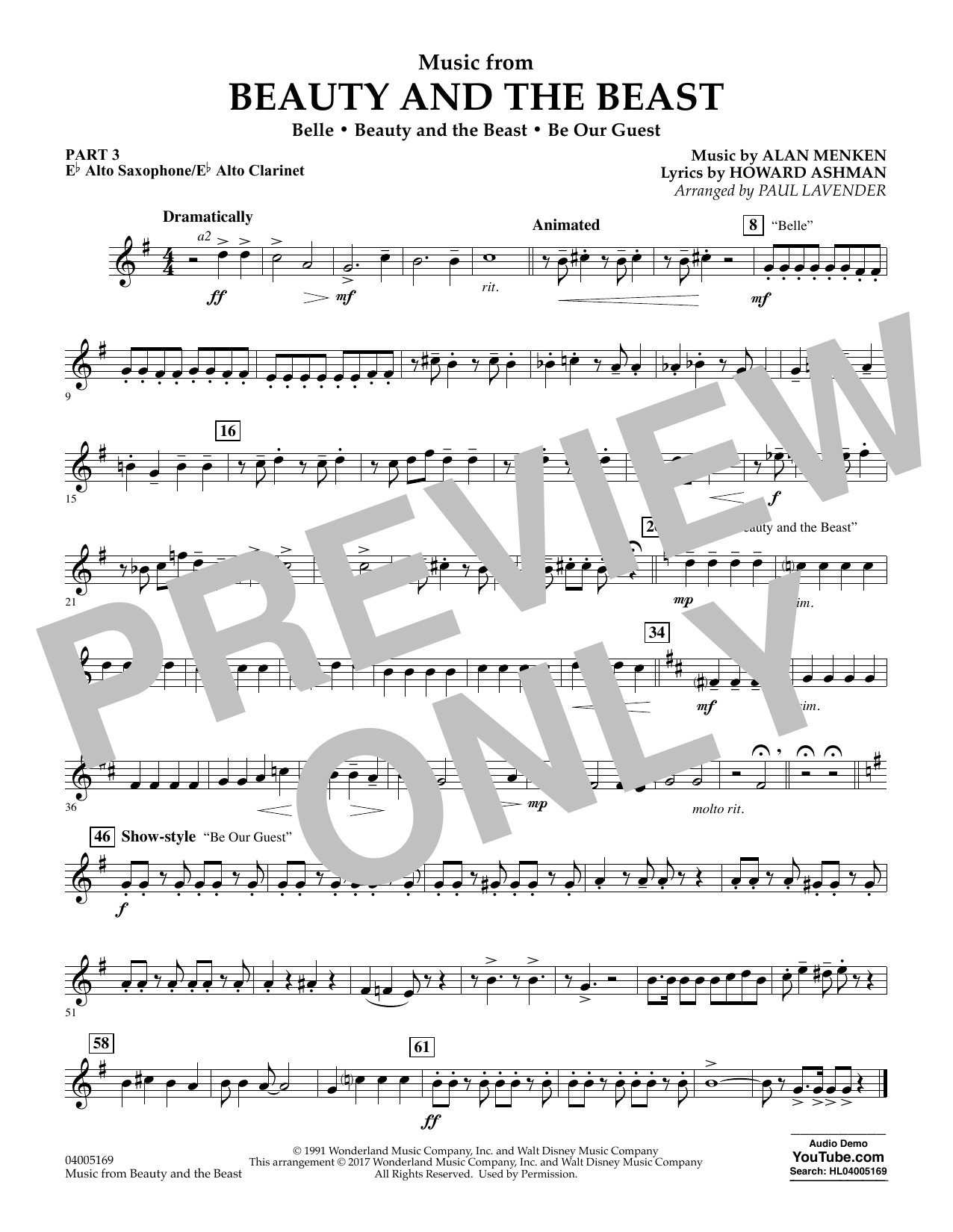 Paul Lavender Music from Beauty and the Beast - Pt.3 - Eb Alto Sax/Alto Clar. sheet music notes and chords. Download Printable PDF.