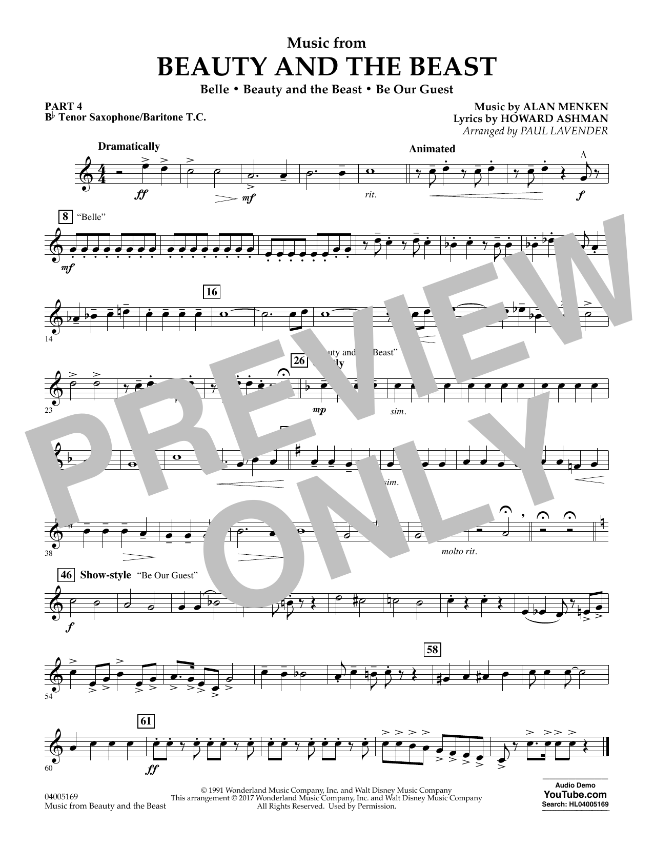 Paul Lavender Music from Beauty and the Beast - Pt.4 - Bb Tenor Sax/Bar. T.C. sheet music notes and chords. Download Printable PDF.