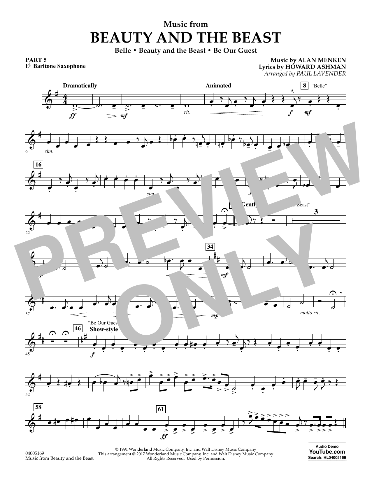 Paul Lavender Music from Beauty and the Beast - Pt.5 - Eb Baritone Saxophone sheet music notes and chords. Download Printable PDF.