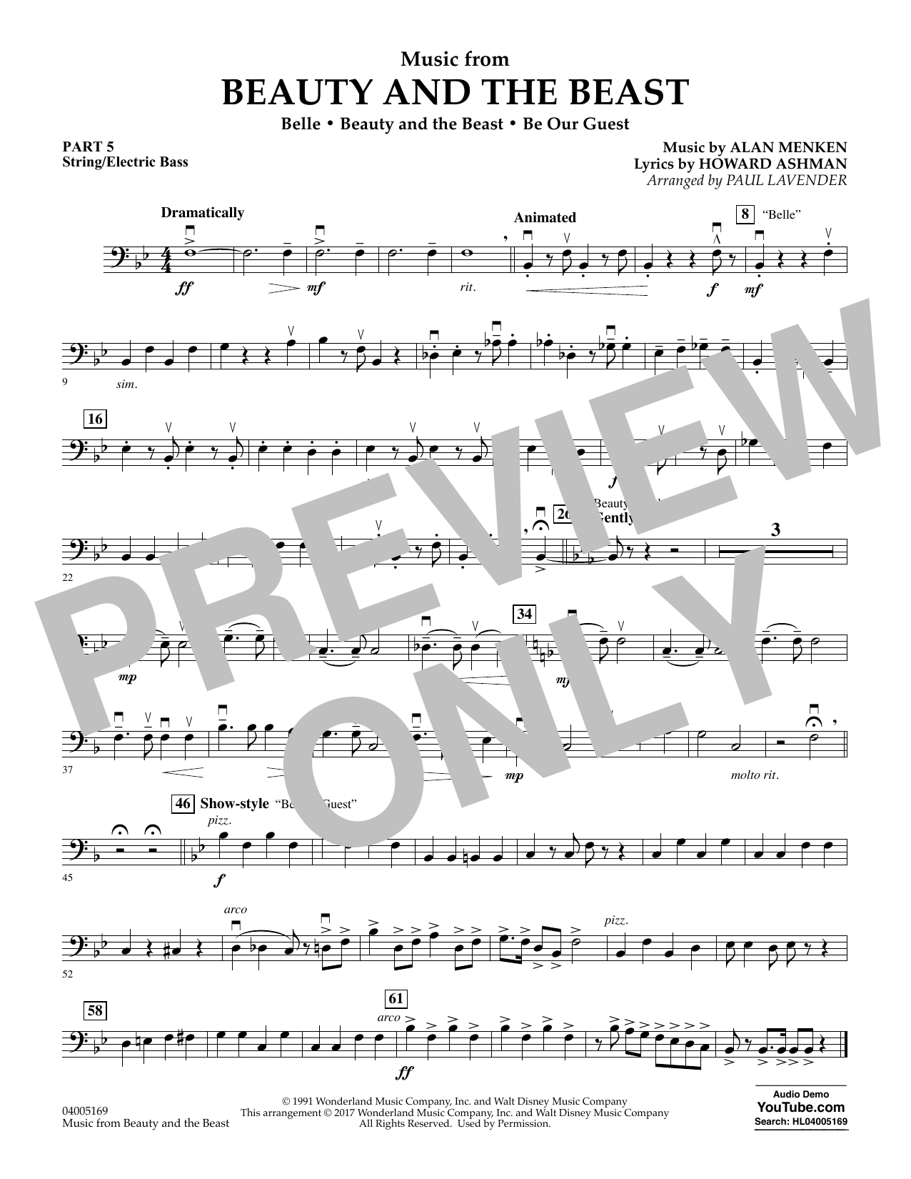 Paul Lavender Music from Beauty and the Beast - Pt.5 - String/Electric Bass sheet music notes and chords. Download Printable PDF.