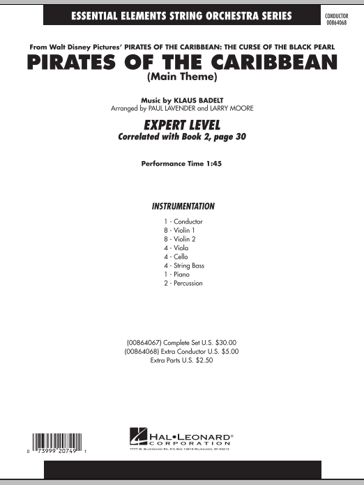 Paul Lavender Pirates Of The Caribbean (Main Theme) - Full Score sheet music notes and chords. Download Printable PDF.