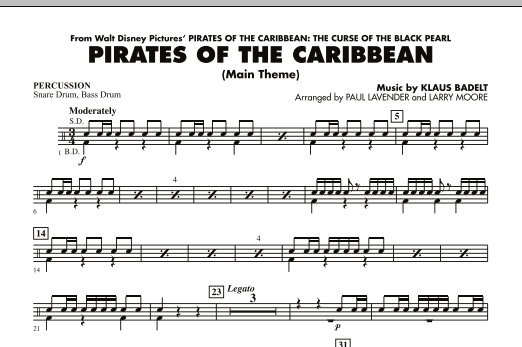 Paul Lavender Pirates Of The Caribbean (Main Theme) - Percussion sheet music notes and chords. Download Printable PDF.
