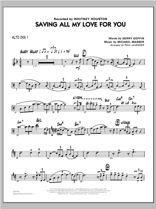 Paul Lavender Saving All My Love For You - Alto Sax 1 sheet music notes and chords. Download Printable PDF.