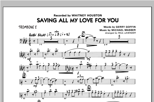 Paul Lavender Saving All My Love For You - Trombone 2 sheet music notes and chords. Download Printable PDF.