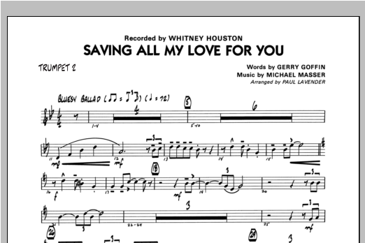 Paul Lavender Saving All My Love For You - Trumpet 2 sheet music notes and chords. Download Printable PDF.