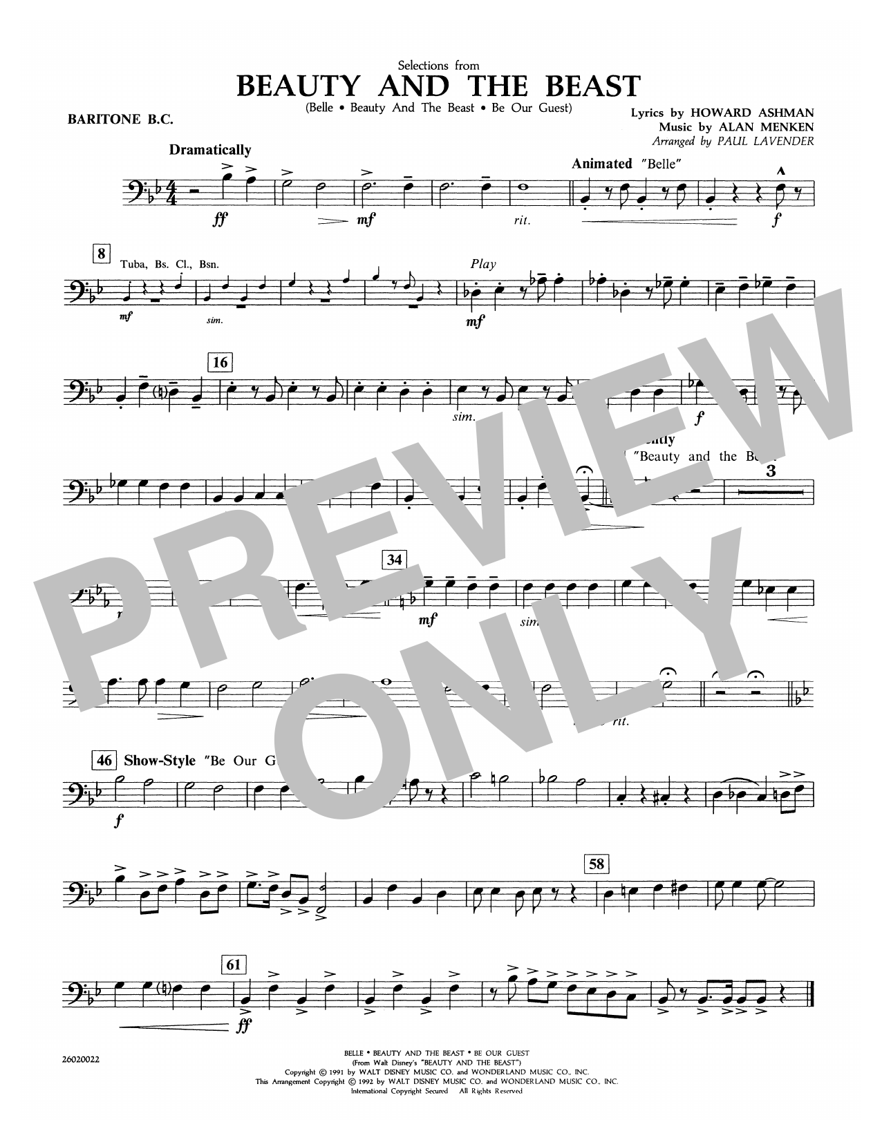 Paul Lavender Selections from Beauty and the Beast - Baritone B.C. sheet music notes and chords. Download Printable PDF.