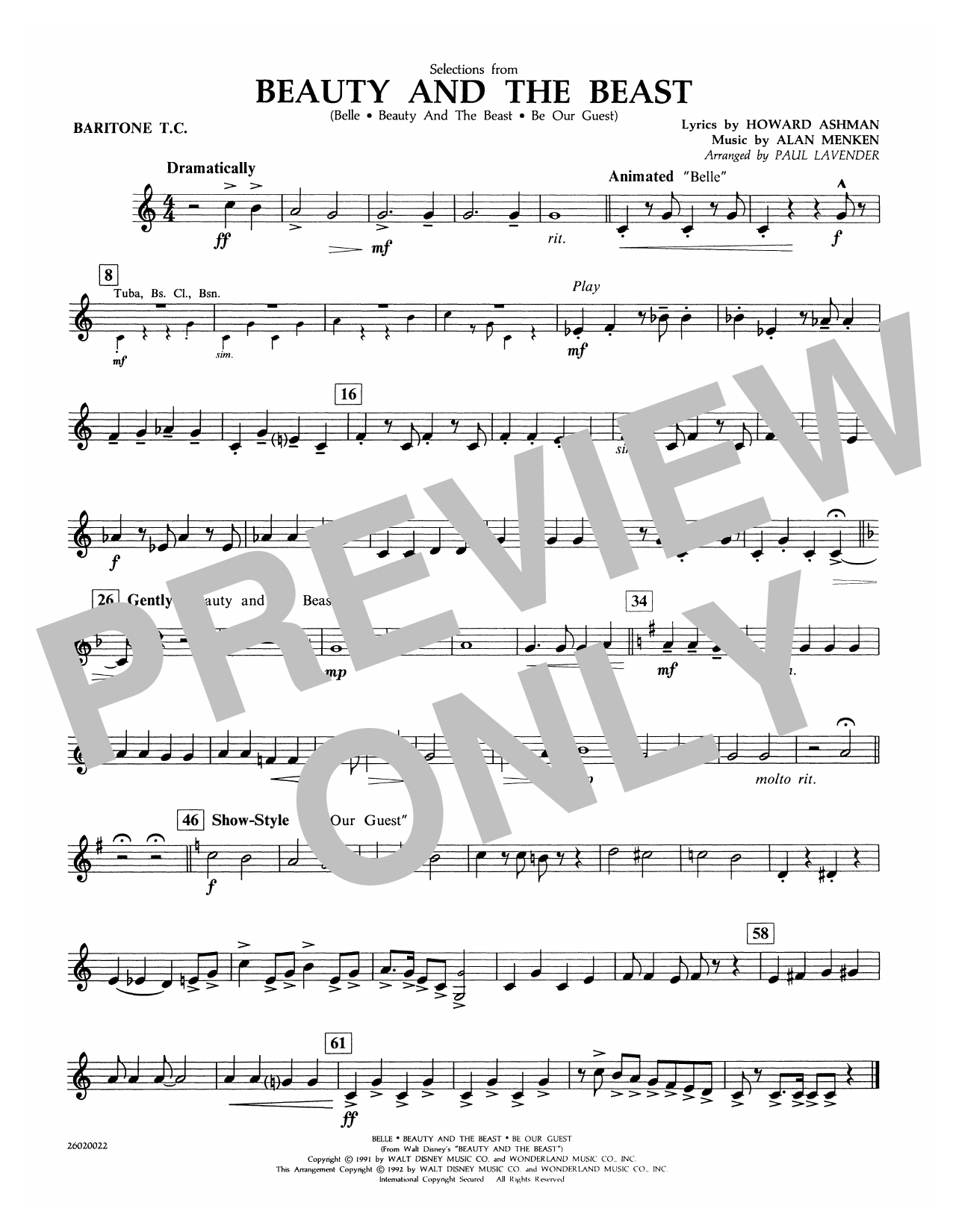 Paul Lavender Selections from Beauty and the Beast - Baritone T.C. sheet music notes and chords. Download Printable PDF.