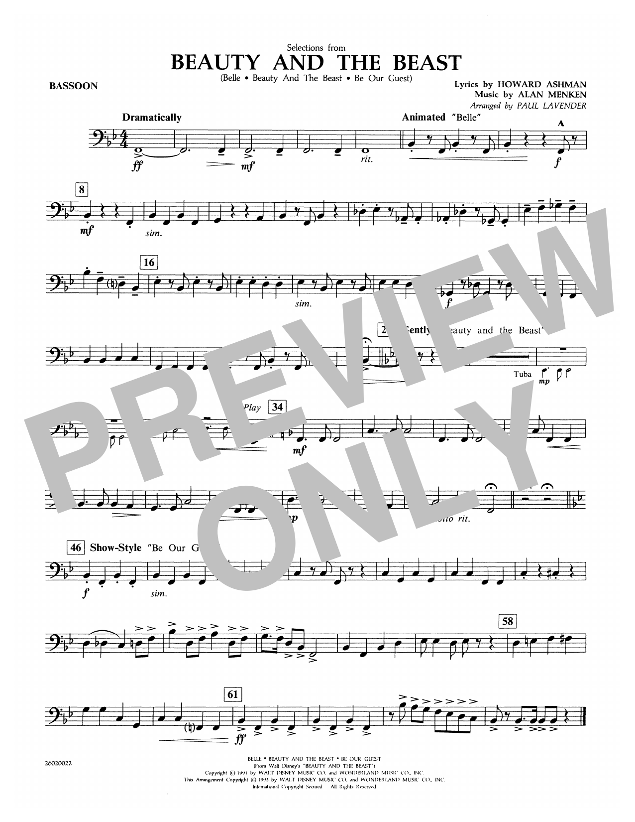 Paul Lavender Selections from Beauty and the Beast - Bassoon sheet music notes and chords. Download Printable PDF.