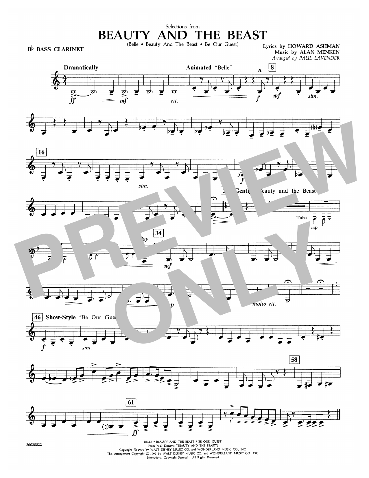 Paul Lavender Selections from Beauty and the Beast - Bb Bass Clarinet sheet music notes and chords. Download Printable PDF.