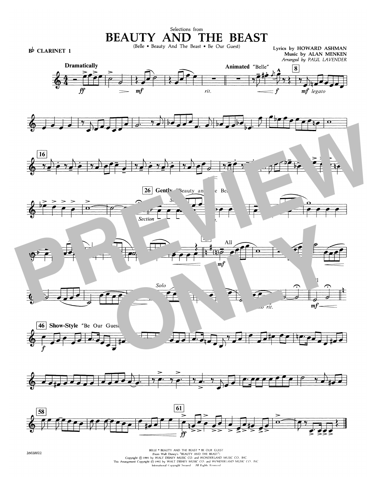 Paul Lavender Selections from Beauty and the Beast - Bb Clarinet 1 sheet music notes and chords. Download Printable PDF.