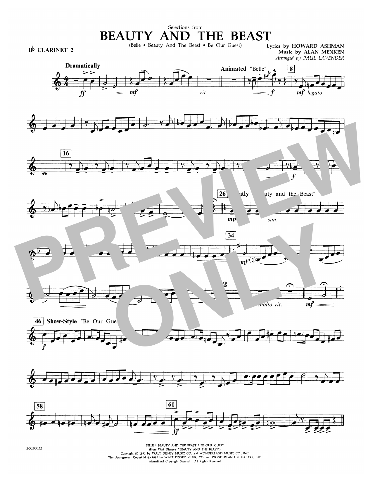 Paul Lavender Selections from Beauty and the Beast - Bb Clarinet 2 sheet music notes and chords. Download Printable PDF.