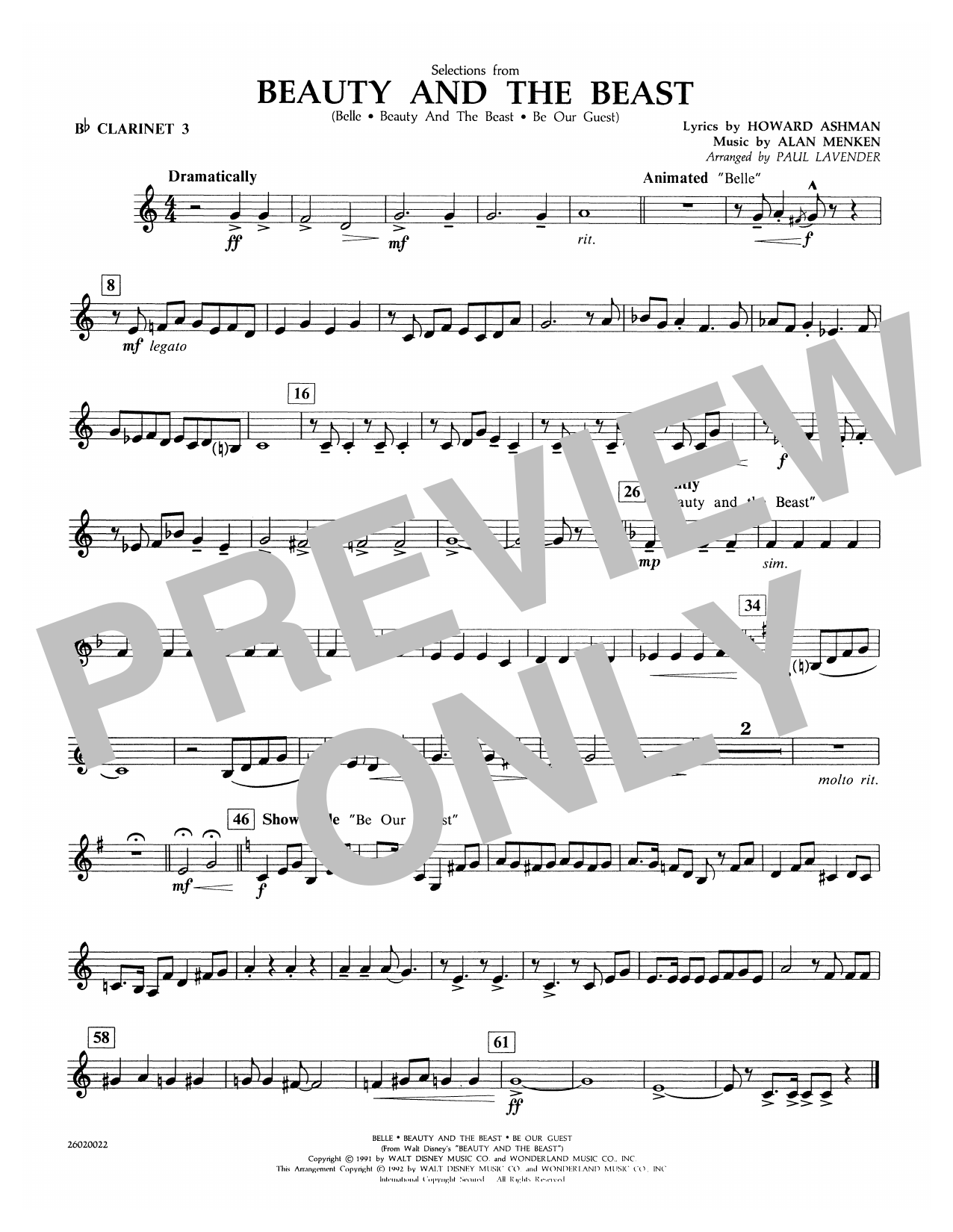 Paul Lavender Selections from Beauty and the Beast - Bb Clarinet 3 sheet music notes and chords. Download Printable PDF.