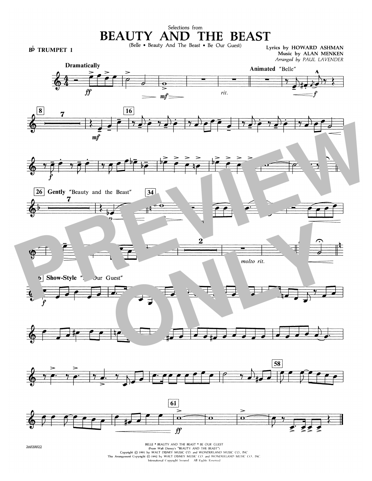 Paul Lavender Selections from Beauty and the Beast - Bb Trumpet 1 sheet music notes and chords. Download Printable PDF.