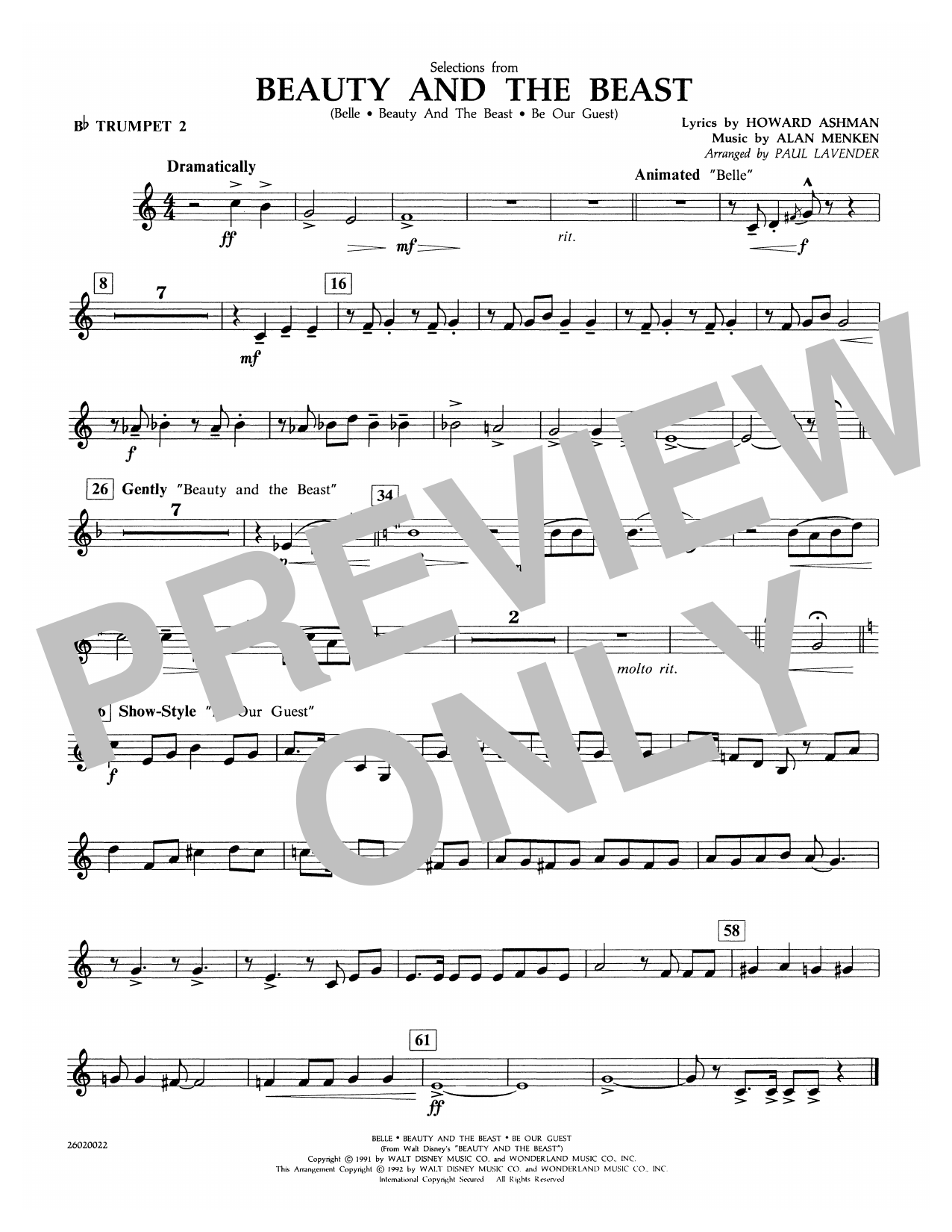 Paul Lavender Selections from Beauty and the Beast - Bb Trumpet 2 sheet music notes and chords. Download Printable PDF.