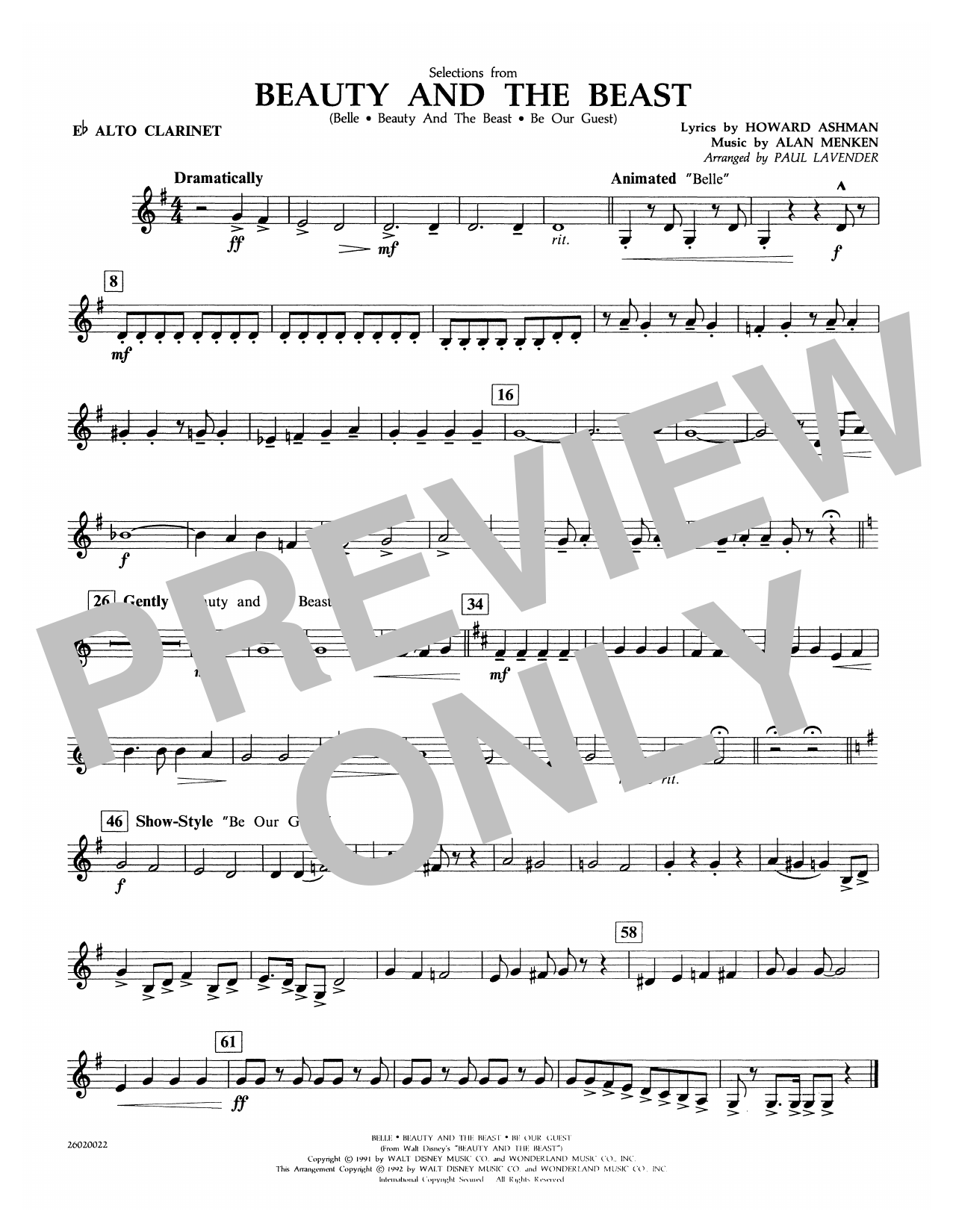 Paul Lavender Selections from Beauty and the Beast - Eb Alto Clarinet sheet music notes and chords. Download Printable PDF.