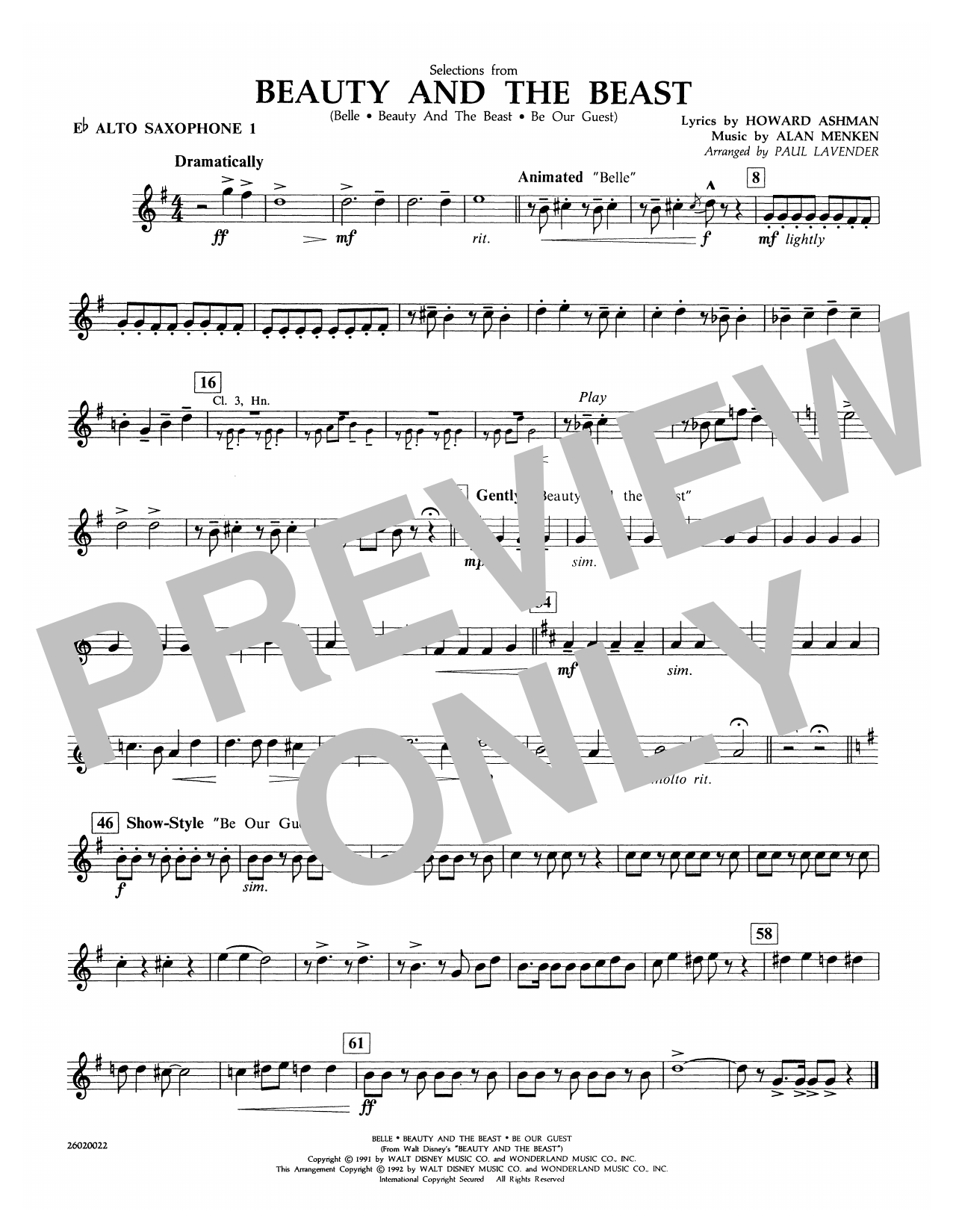 Paul Lavender Selections from Beauty and the Beast - Eb Alto Sax 1 sheet music notes and chords. Download Printable PDF.