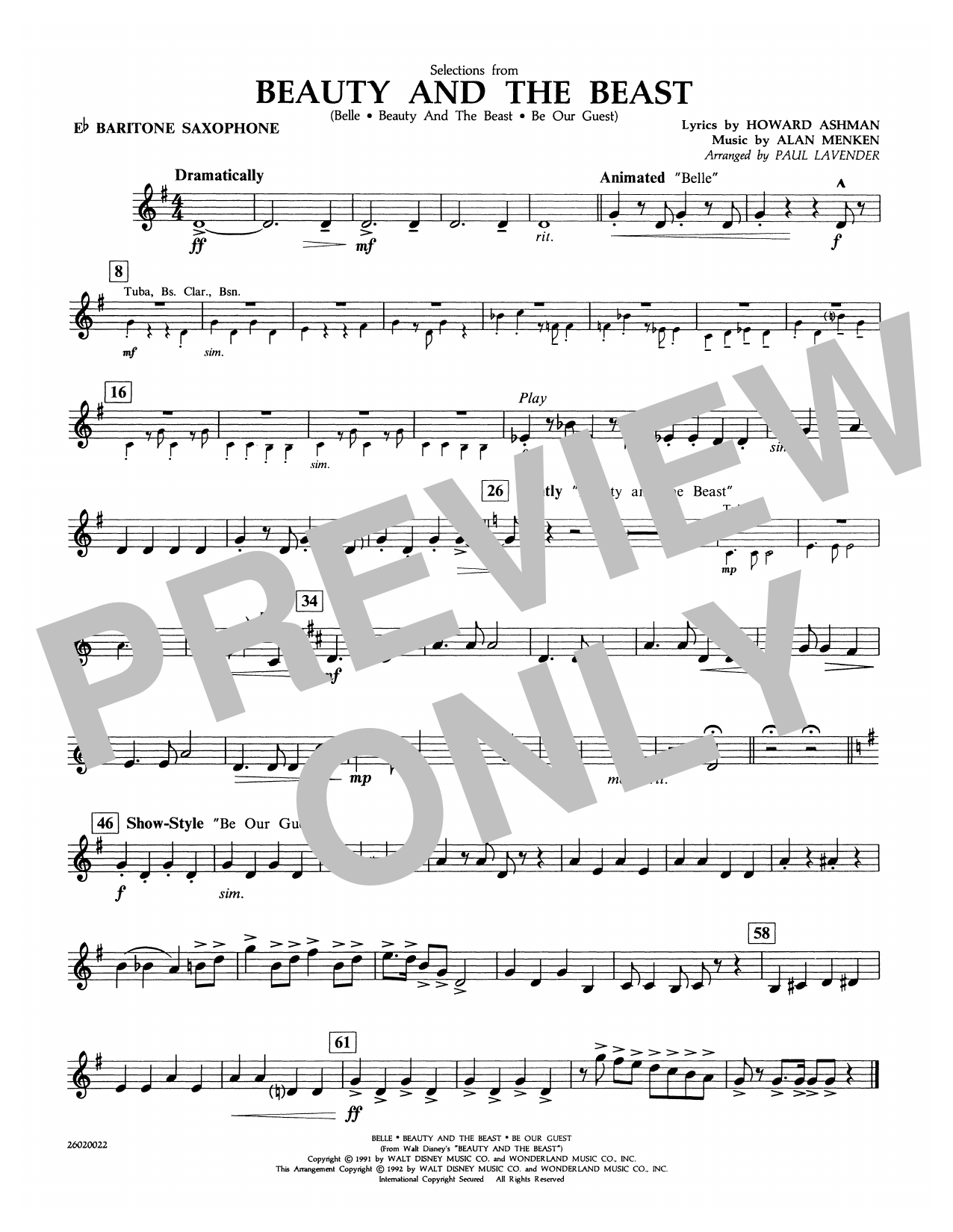 Paul Lavender Selections from Beauty and the Beast - Eb Baritone Sax sheet music notes and chords. Download Printable PDF.