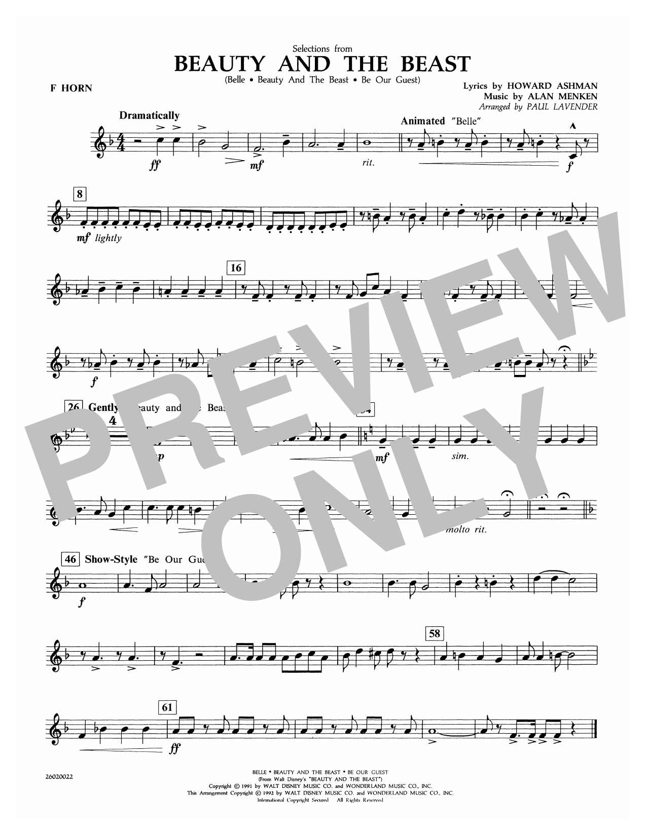 Paul Lavender Selections from Beauty and the Beast - F Horn sheet music notes and chords. Download Printable PDF.