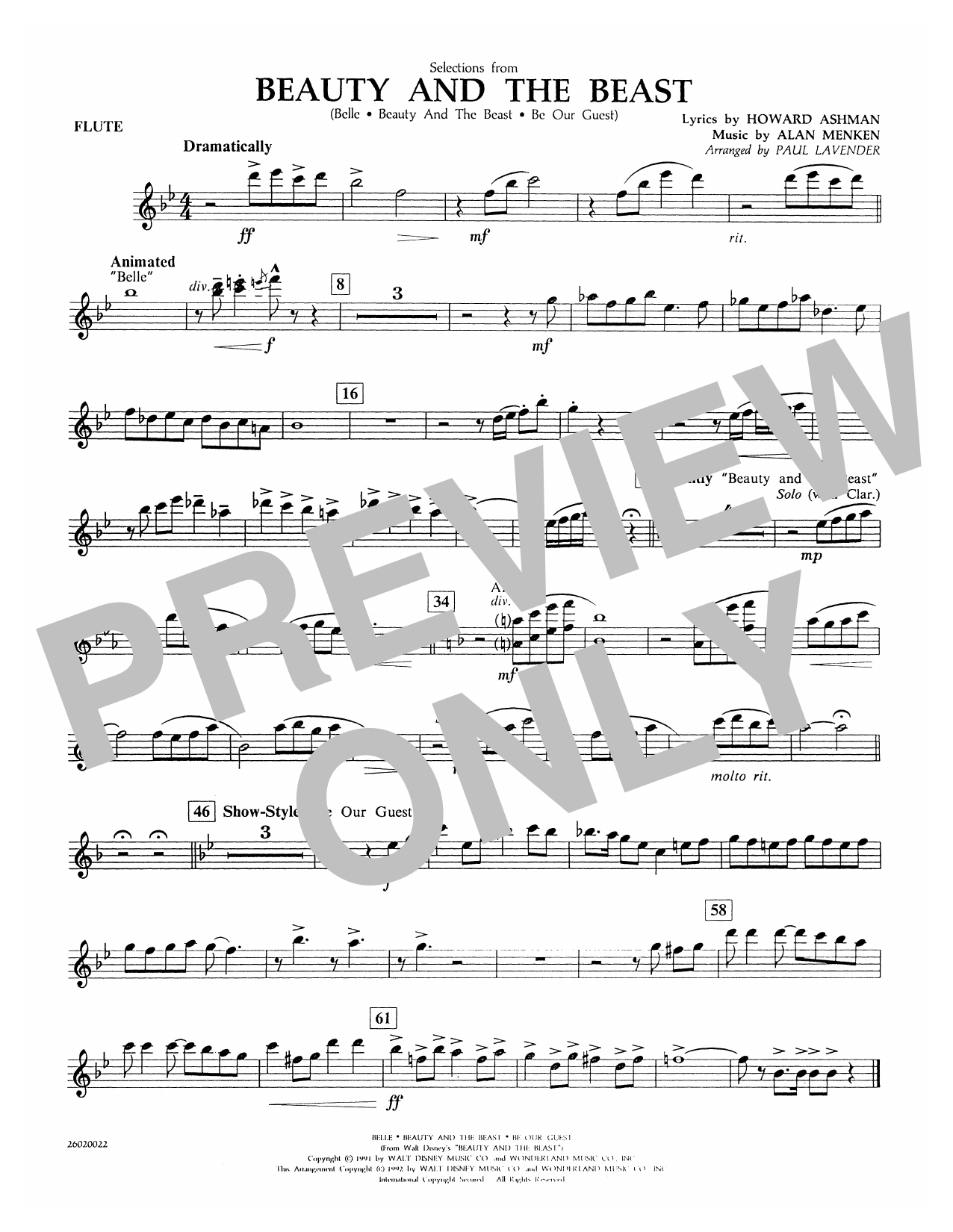 Paul Lavender Selections from Beauty and the Beast - Flute sheet music notes and chords. Download Printable PDF.