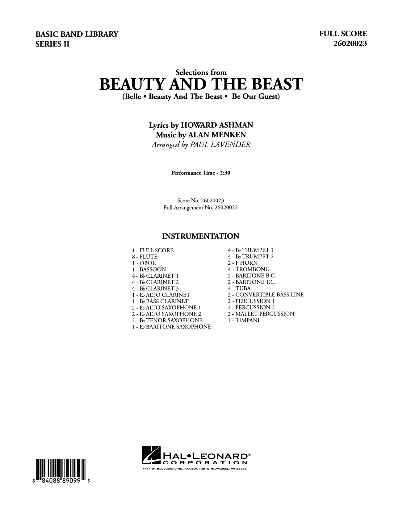 Paul Lavender Selections from Beauty and the Beast - Full Score sheet music notes and chords. Download Printable PDF.