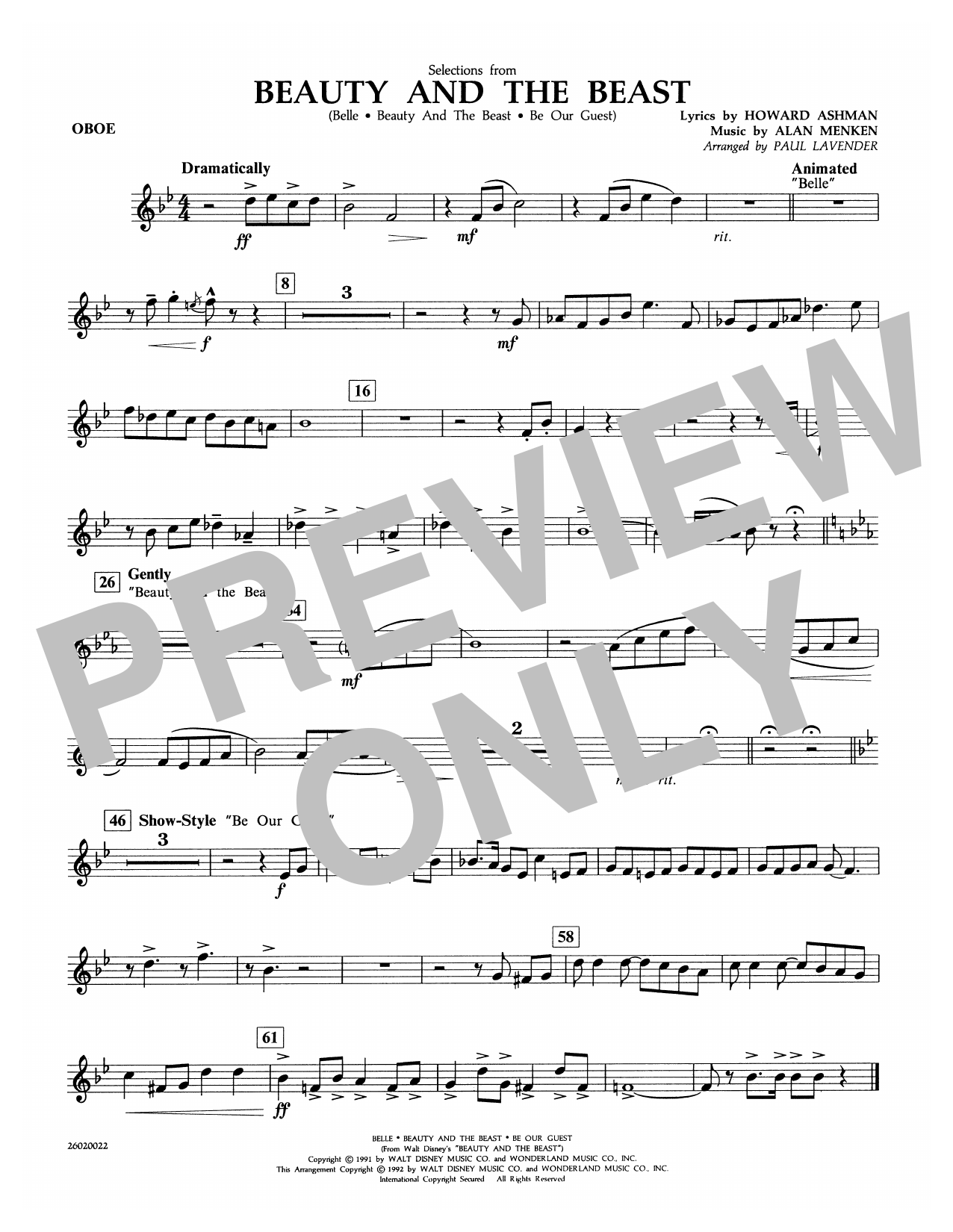 Paul Lavender Selections from Beauty and the Beast - Oboe sheet music notes and chords. Download Printable PDF.