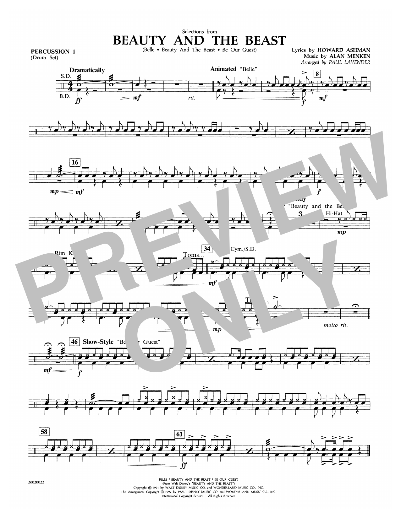 Paul Lavender Selections from Beauty and the Beast - Percussion 1 sheet music notes and chords. Download Printable PDF.