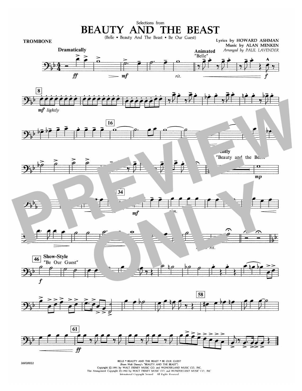 Paul Lavender Selections from Beauty and the Beast - Trombone sheet music notes and chords. Download Printable PDF.