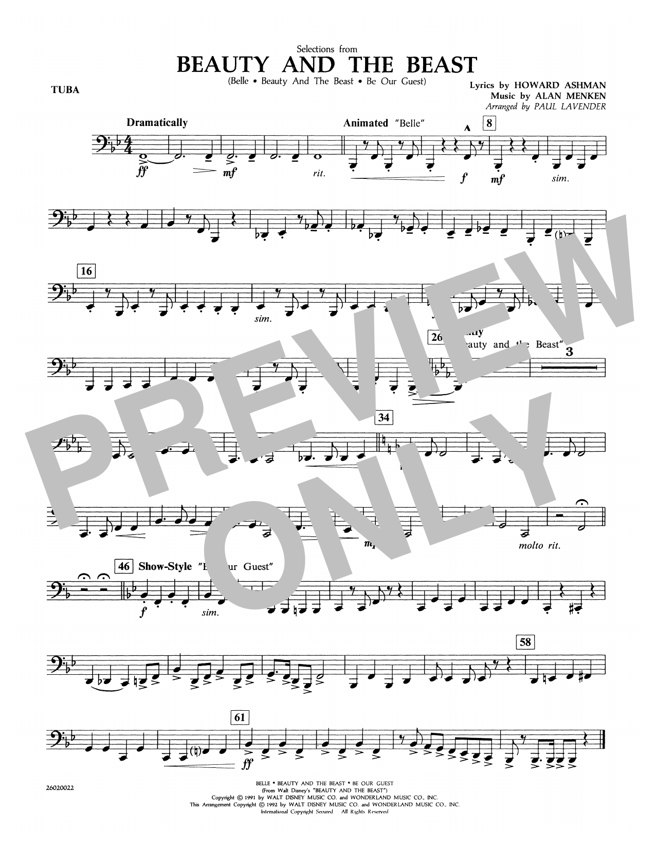Paul Lavender Selections from Beauty and the Beast - Tuba sheet music notes and chords. Download Printable PDF.
