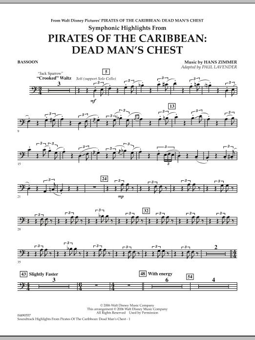 Paul Lavender Soundtrack Highlights from Pirates Of The Caribbean: Dead Man's Chest - Bassoon sheet music notes and chords. Download Printable PDF.