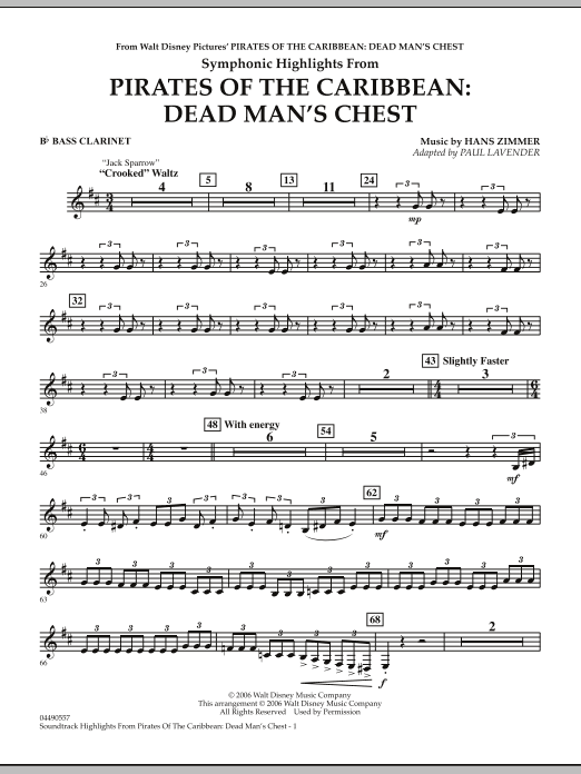 Paul Lavender Soundtrack Highlights from Pirates Of The Caribbean: Dead Man's Chest - Bb Bass Clarinet sheet music notes and chords. Download Printable PDF.