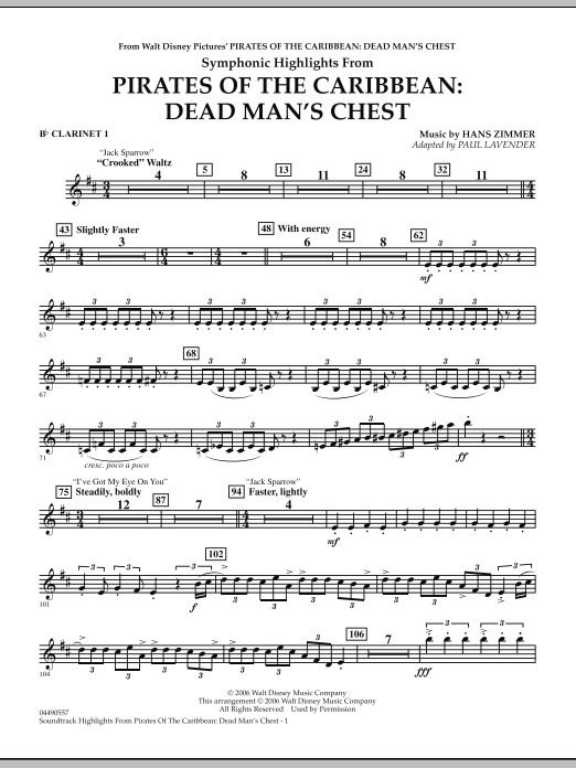 Paul Lavender Soundtrack Highlights from Pirates Of The Caribbean: Dead Man's Chest - Bb Clarinet 1 sheet music notes and chords. Download Printable PDF.