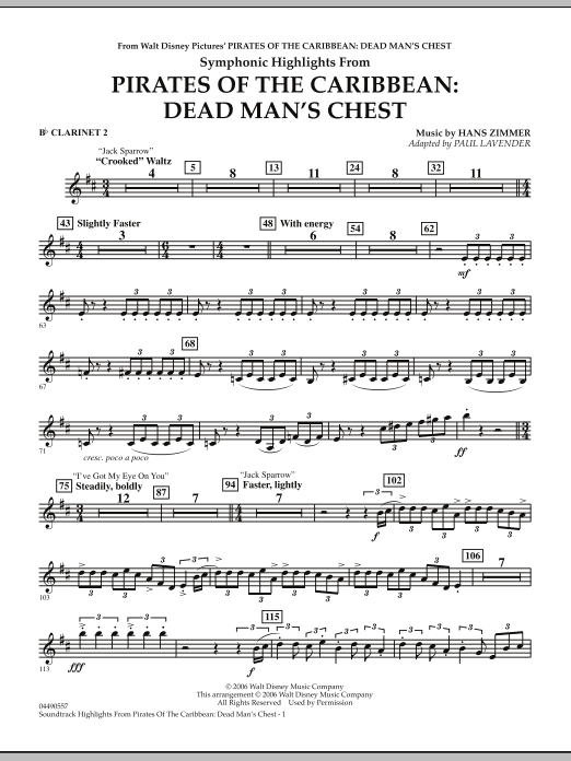 Paul Lavender Soundtrack Highlights from Pirates Of The Caribbean: Dead Man's Chest - Bb Clarinet 2 sheet music notes and chords. Download Printable PDF.