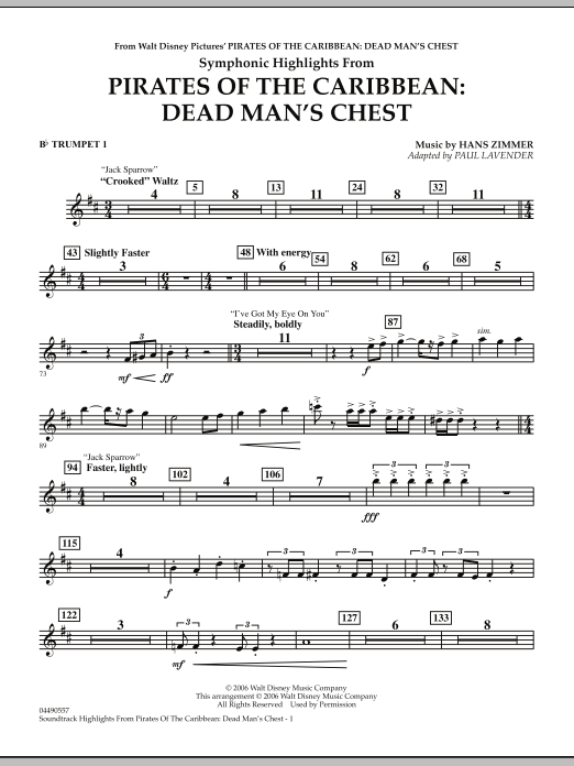 Paul Lavender Soundtrack Highlights from Pirates Of The Caribbean: Dead Man's Chest - Bb Trumpet 1 sheet music notes and chords. Download Printable PDF.