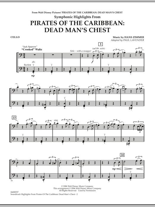 Paul Lavender Soundtrack Highlights from Pirates Of The Caribbean: Dead Man's Chest - Cello sheet music notes and chords. Download Printable PDF.