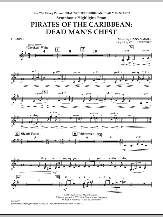 Paul Lavender Soundtrack Highlights from Pirates Of The Caribbean: Dead Man's Chest - F Horn 1 sheet music notes and chords. Download Printable PDF.