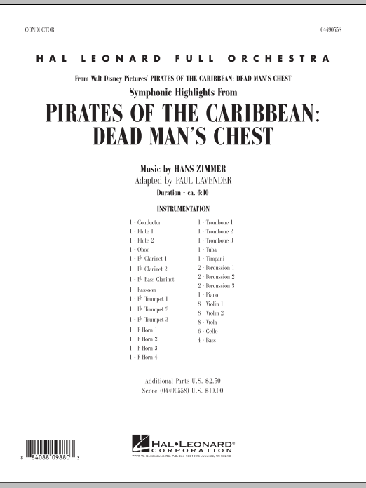 Paul Lavender Soundtrack Highlights from Pirates Of The Caribbean: Dead Man's Chest - Full Score sheet music notes and chords. Download Printable PDF.