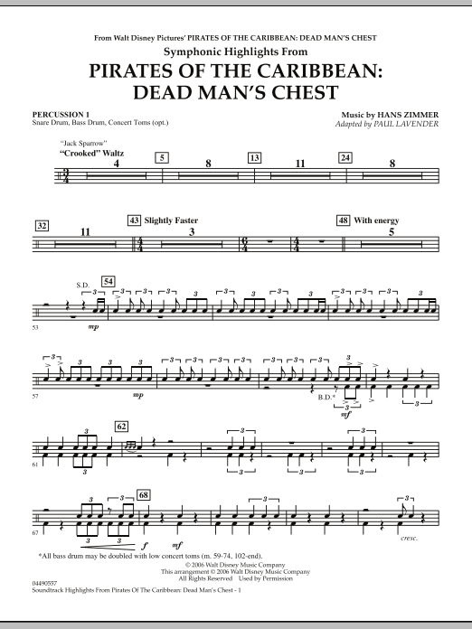 Paul Lavender Soundtrack Highlights from Pirates Of The Caribbean: Dead Man's Chest - Percussion 1 sheet music notes and chords. Download Printable PDF.