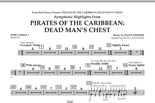 Paul Lavender Soundtrack Highlights from Pirates Of The Caribbean: Dead Man's Chest - Percussion 3 sheet music notes and chords. Download Printable PDF.