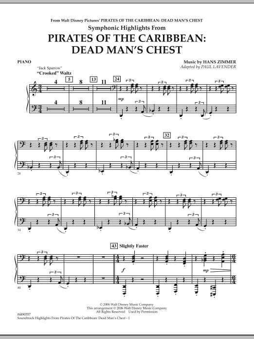 Paul Lavender Soundtrack Highlights from Pirates Of The Caribbean: Dead Man's Chest - Piano sheet music notes and chords. Download Printable PDF.