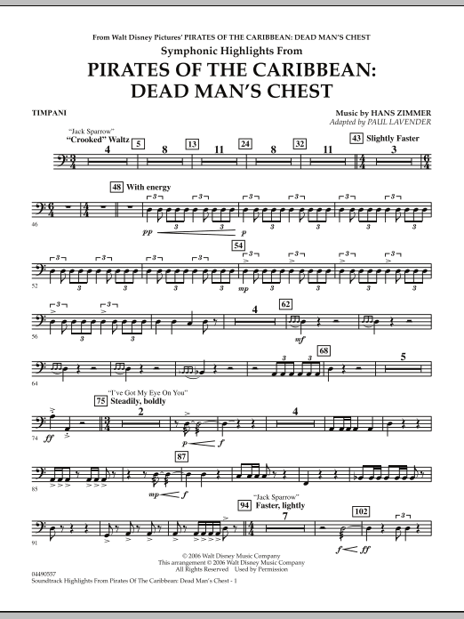 Paul Lavender Soundtrack Highlights from Pirates Of The Caribbean: Dead Man's Chest - Timpani sheet music notes and chords. Download Printable PDF.