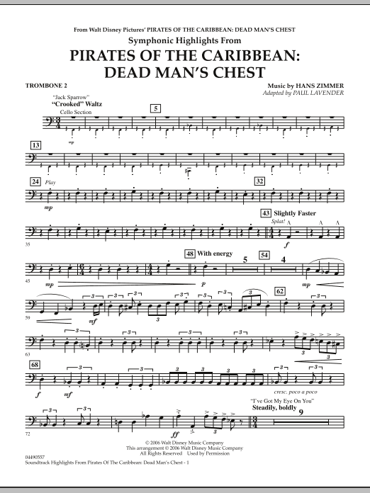 Paul Lavender Soundtrack Highlights from Pirates Of The Caribbean: Dead Man's Chest - Trombone 2 sheet music notes and chords. Download Printable PDF.
